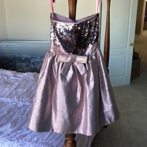 Betsey Johnson Pink Sequined Strapless Dress